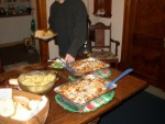 Christmas Dinner: Mom's famous spaghetti hotdish served buffet-style.