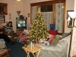 A shot of the Christmas tree.  My sister Sarah is to the right.
