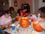 Lori, Ben, Pauline, Becky, and Dominic's pumpkin creation.