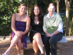 Sheah, Pauline, and Lisa at the graden area before the ceremony