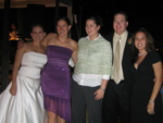 Jennie, Sheah, Lisa, Brad, and Pauline gathered at the reception