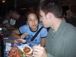 Pauline and Ben enjoying fresh seafood.  Yum!