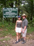 Pauline and Ben at the start of the hiking trail