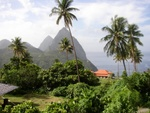 View from La Haut Resort (Lower House) of the Pitons.  Pauline has Arrived!