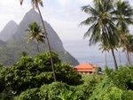 View from La Haut Resort (Lower House) at the Pitons.  Owner's house below.