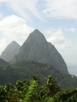 The Pitons as seen from La Haut Resort