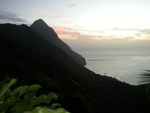 View from Ladera Resort (located between the Pitons on the Mountain side)