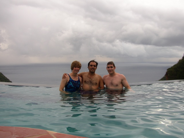 Becky, Andres, Ben in the Poll with Ocean and Sky in the background