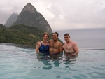 Becky, Andres, Ben in the Poll with Pitons in the background