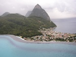 Pool with Soufriere and Pitons